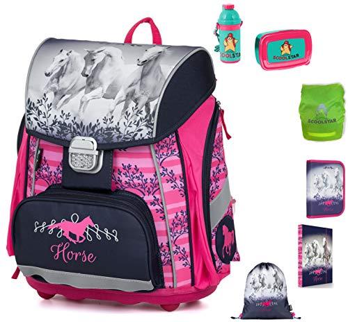 Paarden schooltassen set meisjes 1 klasse | Set 7-delig voor basisschool | super licht | ergonomisch en anatomisch | regenbescherming veermapjes sporttas opbergdoos broodtrommel