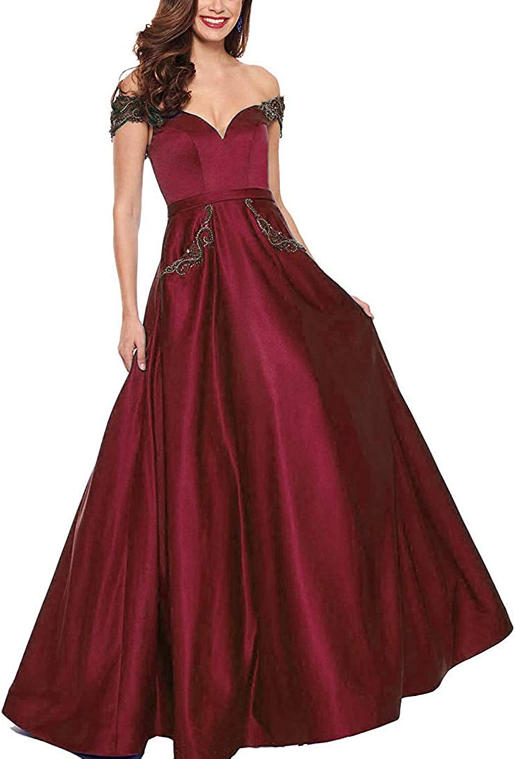 Cap Shoulder Prom Gown Satin V Neck Beaded Aline Formal Evening Dresses with Pockets