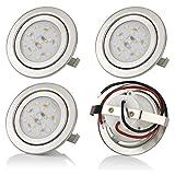 sweet-led 4er Pack,3W LED,12V Flache Möbelleuchte, Möbel Einbaustrahler Einbauleuchte, Einbauspot, ultra flach, 210 Lumen, 3000K