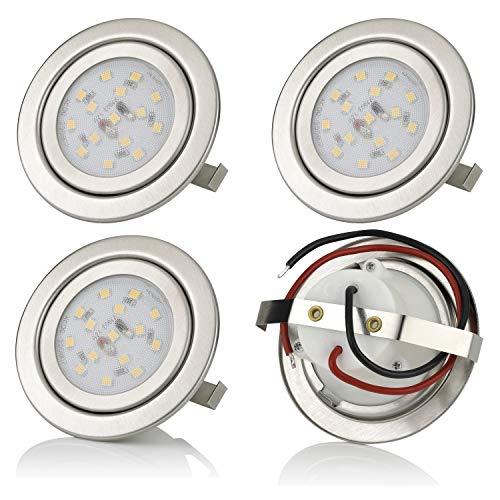 sweet-led 4 x Einbaustrahler LED, Möbeleinbauleuchten, 12V, 3W, Nicht schwenkbar, Rund, Chrom gebürstet, Warmweiß