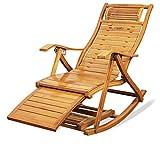 Sillón Mecedora de bambú Zero Gravity Sillón de salón Sillón reclinable con reposapiés Tumbona de relajación reclinable para Exteriores o Interiores, Tumbona para jardín, Patio, terraza de Playa