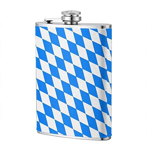 XBYC Outdoor Camping Schnapsflasche Blau Weiß Diamantförmige bayerische Flagge 8 Unzen Lecksicherheit 304 Edelstahl-Flachmann aus Lebensmittelqualität mit schwarzem Lederbezug Tragbare Erwachsenentas