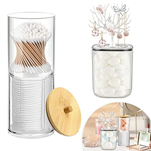 Homgaty Paquete de 2 cajas de hisopo de algodón acrílico dispensador de hisopo de algodón con tapas para hisopos de algodón cosméticos bolas pendientes - transparente