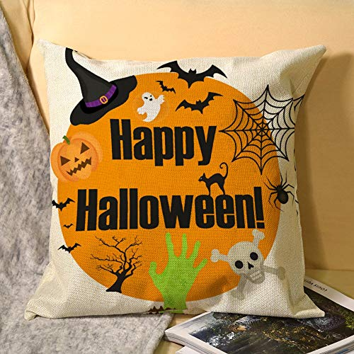happygoluck1y Halloween Round Frame For Text With A Spider Cushion Covers 45cm x 45cm /18 x 18 Cotton Linen Throw Pillow Case Cover Home Decor Sofa Outdoor Pillow Case
