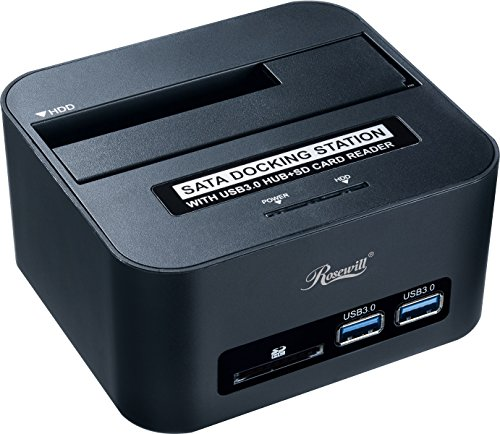 Hard Drive Docking Station SATA III / II / I to USB 3.0 for 2.5 & 3.5 Inch SATA III SSD HDD Single Bay HDD Docking with SD / SDHC Card Reader and USB 3.0 Port