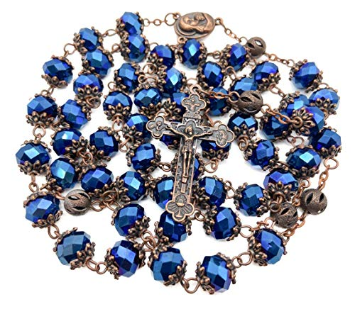 Nazareth Store Deep Blue Rosary Our Father Catholic Necklace