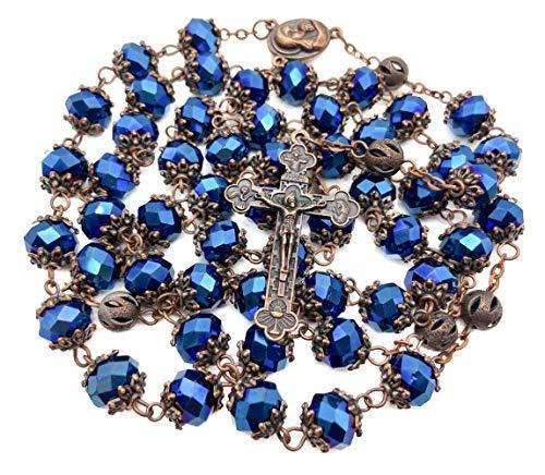 """Nazareth Store Rosenkranz-Halskette \""""Our Father\"""" mit dunkelblauen Kristallperlen, Heiliger Boden, Medaille und Kreuz, antikes Design, Samtbeutel"""