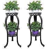 2Packs Metal Potted Plant Stand, Rustproof Decorative Flower Pot Rack with Indoor Outdoor Iron Art Planter Holders Garden Steel Pots Patio, Lawn