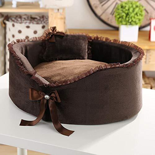 KDXBCAYKI Warme kattentoilet voor dieren, nest voor honden, matras chenil heavy duty dieren, deken afneembaar en wasbaar, stoel lounge hoekbank, S, Bruin