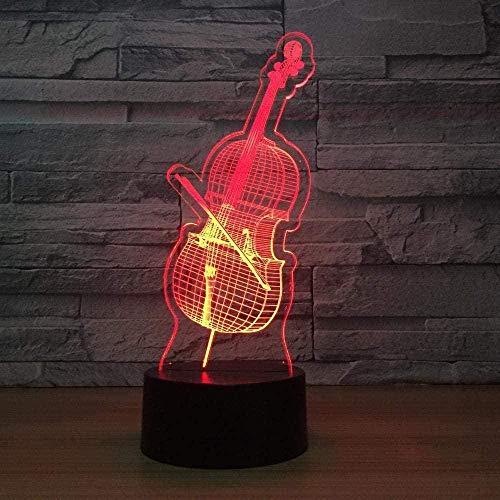3D Illusion LED Cello LED Nachttischlampe 7-Farben-Weihnachtsgeschenk für Kinder Kinder Kinder USB-Aufladung