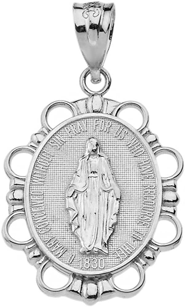 Solid 10k White Gold Miraculous Medal Of Blessed Virgin Mary Pendant (Small)