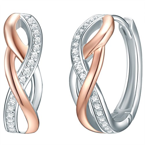 Rafaela Donata Damen-Ohrringe Sterling Silber rosegold Zirkonia weiß - Klappcreolen Ohrstecker Silber Zirkonia Creolen klein