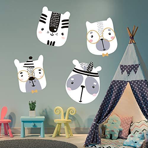 4x Indianer - Wandsticker, Wandaufkleber weiß. Lustige Wandtattoo Motiv: Tiere, Panda Bär, Indianer Kinderzimmer Babyzimmer Kinder Baby Mädchen Junge Tapetensticker (Indianer Tierköpfe)