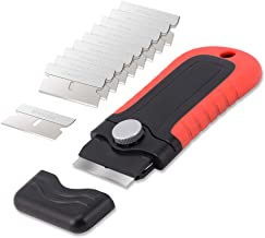 Gomake Locking Razor Blade Scraper with Safety Cap, Plastic Scraper with 10PCS Stainless Steel Blades for Glass Clean, Pai...