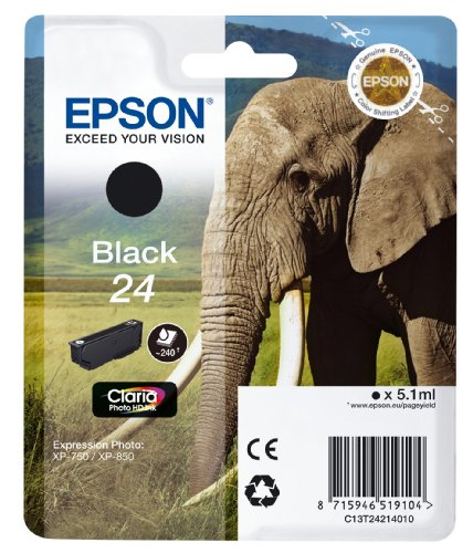 Epson Original 24 Tinte Elefant (XP-750 XP-850 XP-950 XP-55 XP-760 XP-860 XP-960 XP-970, Amazon Dash Replenishment-fähig) schwarz