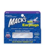 Mack's AquaBlock Swimming Earplugs - Comfortable, Waterproof, Reusable Silicone Ear Plugs for Swimming, Snorkeling, Showering, Surfing and Bathing