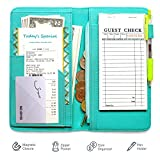 Mymazn 5x9 Server Book for Waitress Organizer Magnetic with Zipper Money Pocket Pen Holder for Waiter Restaurant Waitstuff Fits Guest Check Order Pad and Apron (Turquoise)