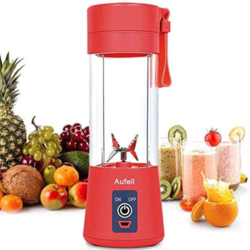 AUFELL versión Mejorada Licuadora Personal, Vaso exprimidor portátil/Mezclador de Frutas eléctrico/batidora de Zumo USB, Recargable, Seis Cuchillas en 3D para una excelente Mezcla, 380 ml (Rojo)