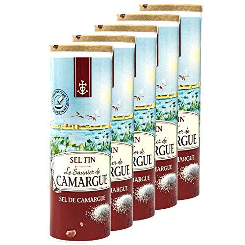 Le Saunier de Camargue - 5er Set Sel Fin Salz gemahlen in 250 g Dose (Streudose) - Premium Meersalz aus (Süd-Frankreich/Mittelmeer)