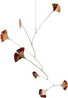 Modern Artisans Copper Ginkgo Leaves Spinning Mobile for Indoor or Outdoor, Standard 7-Leaf Version