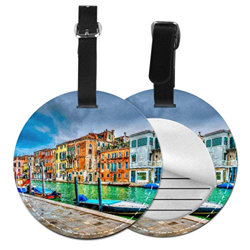 LuggageTags Beautiful View Canal Venice Italy HDR Men'sLuggageTag TravelTagsforBags with Adjustable Black Strap for Bags & Baggage with Privacy Protection for Women Men