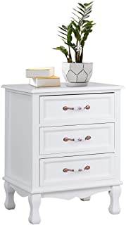 Giantex 3 Drawers Nightstand End Table Storage Wood Cabinet Bedroom Side Storage (1, White)