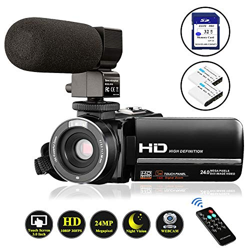 Video Camera Camcorder FHD 1080P 24.0MP Digital Camera YouTube Vlogging Camera 3.0 inch IPS Touch...