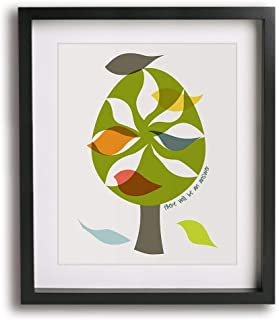 Let It Be by The Beatles inspired song lyric mid-century modern art print, inspirational tree bird retro home wall decor