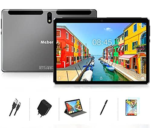 MEBERRY Tablet 10 Pollici 8 core 1.6 GHz 4GB RAM 64GB ROM Android 10 Pro Ultra-Veloce Tablets PC,128 GB Espandibile | Doppia Fotocamera(5MP+8MP) | 8000mAh | Solo WiFi | GPS | Google GMS, Grigio