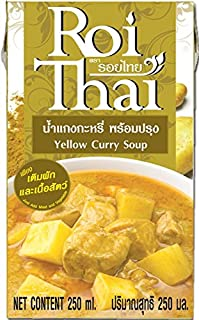 ROI THAI, Ready to cook, Thai Yellow curry soup, Curry sauce, Simmer sauce, Instant curry sauce, Curry paste with coconut milk, Thai food, 8.4 OZ (Pack of 1)