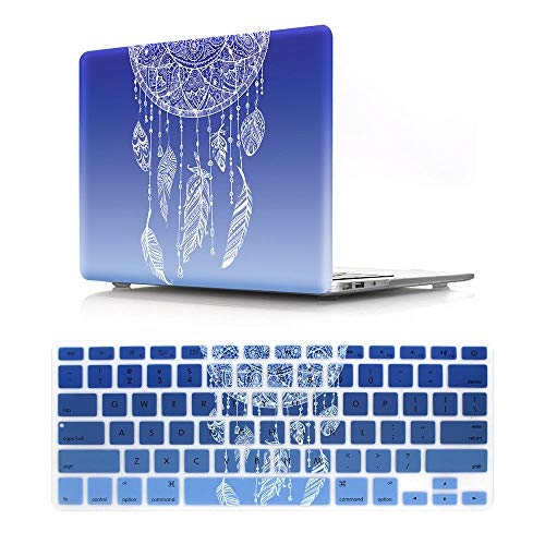 HRH 2 in 1 Dream Catcher Ombre Blue Laptop Body Shell Protective Hard Case Cover and Matching Silicone Keyboard Cover for Apple MacBook Pro 13.3' with Retina Display (A1502 / A1425)