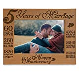 KATE POSH - 5 Years of Marriage Photo Frame - Happy 5th Wood - Engraved Natural Solid Wood Picture Frame (5x7-Horizontal)