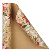 RUSPEPA Christmas Wrapping Paper, Kraft Paper - Flowers and Mistletoe Design - 30 inches x 32.8 feet