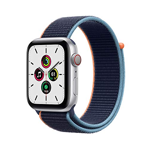 New Apple Watch SE (GPS + Cellular, 44mm) - Silver Aluminum Case with Deep Navy Sport Loop