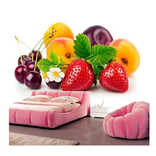 Mrlwy Erdbeerpfirsiche Cherry Plums Food-Tapete, Fototapetenwandgemälde des Restaurantbarwohnzimmersofa Fernsehwand-Küchenschlafzimmers 3d-280X200CM