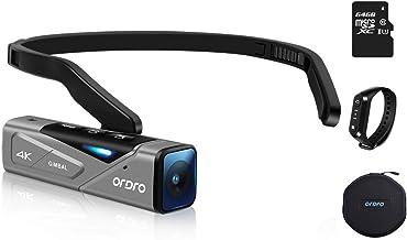 دوربین فیلمبرداری Ordro EP7 Vlog 4K 60FPS دوربین عکاسی پوشیدنی بدون بدنه FPV مینی بدنه با کنترل کننده برنامه 2 محوره Gimbal تثبیت کننده 64 گیگابایت کارت میکرو SDXC شامل کنترل از راه دور W1 ، کیف حمل
