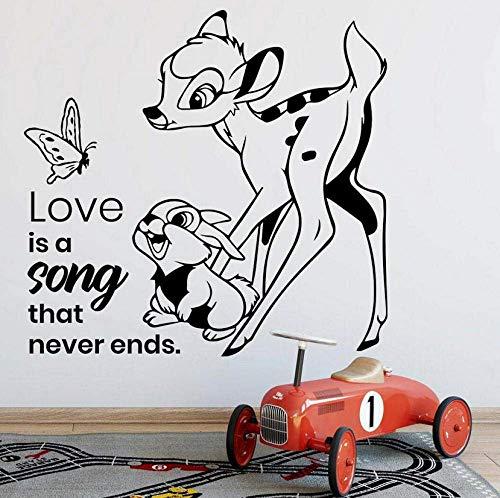 Wandaufkleber Bambi Cartoon Wandtattoo Leben Zitat Schmetterling Kaninchen Kinder Schlafzimmer Kinderzimmer Wohnkultur Tür Fenster Vinyl Aufkleber Liebe Wandbild 57X59Cm