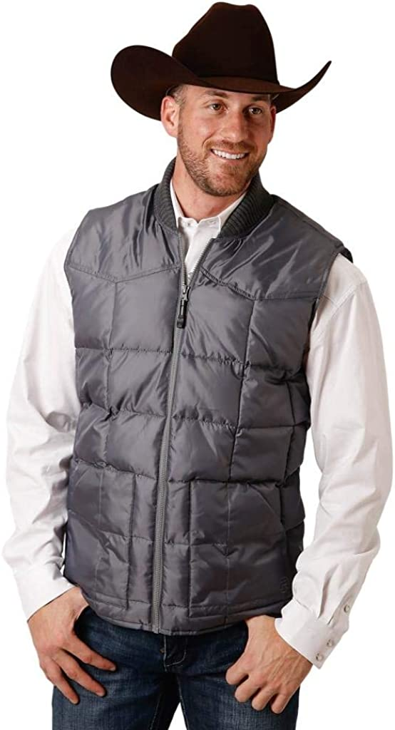 Roper Western Vest Mens Solid Zip Quilted Gray 03-097-0763-0527 GY