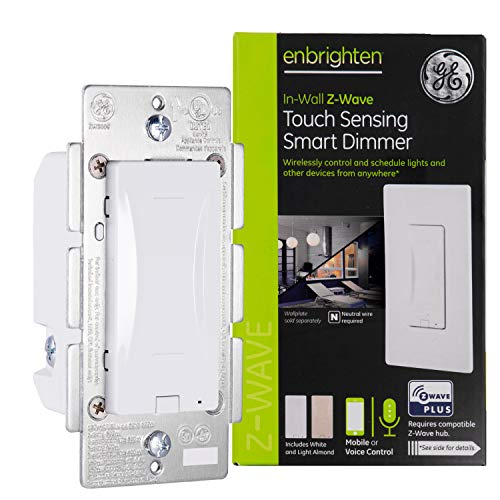 GE Enbrighten Z-Wave Plus Smart Light Touch Dimmer, Works with Alexa, Google Assistant, 3-Way Compatible, ZWave Hub Required, Repeater/Range Extender, White & Light Almond, 14289