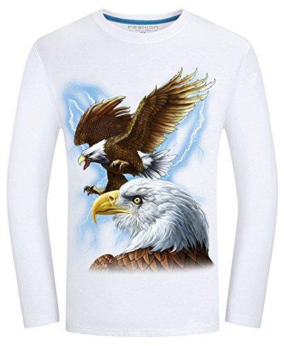 Angcoco Men's Long Sleeve 3D Digital Printed T Shirts - Eagle