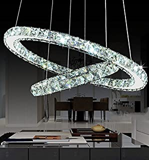 Modern Galaxy Round Rings Crystal Chandeliers LED Pendant Lights Ceiling Fixtures Adjustable Stainless Steel Cable Chandelier Lighting for Dining Room (15.7-23.6 Inches), Cool White