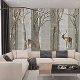 Nordic forest elk European colgando pantalla de cortina suave partición sala de estar moda blackout roller blind Nordic forest elk papel pintado a papel pintado pared dormitorio autoadh-400cm×280cm