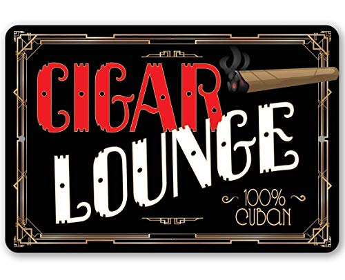 Metal Sign - Cigar Lounge - Durable Metal Sign - Use Indoor/Outdoor - Great Gift and Decor for Cigar Aficionados, Bars, Restaurants, Game Rooms and Man Caves Under $20 (8' x 12')