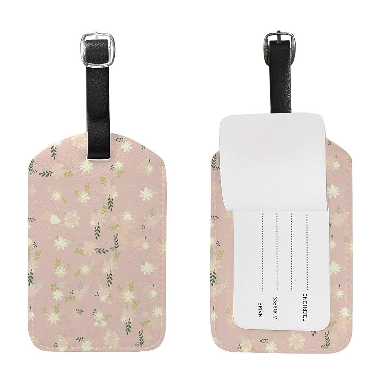 ケントアルバム乳製品ZHONGJI タグ かわいいスーツケースタグ ネームタグ 荷物タグ ?花の背景 旅行用品 2枚入り