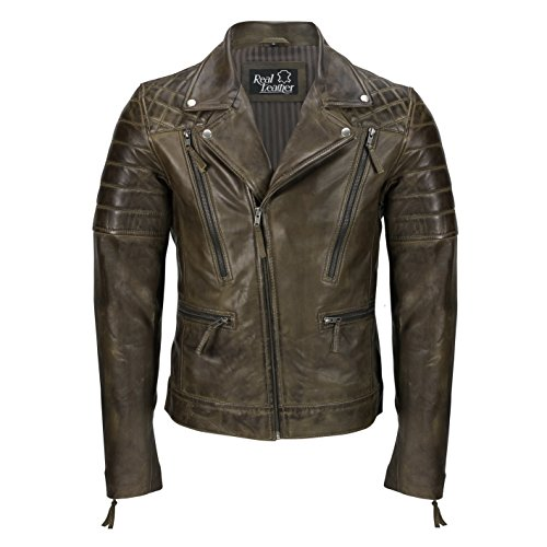Xposed Chaqueta de piel auténtica para hombre, estilo vintage, estilo motociclista, elegante, informal, retro, para hombre, color Marrón, talla 4X-Large