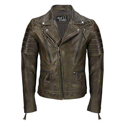 Chaqueta de piel auténtica para hombre, color negro, estilo vintage de...