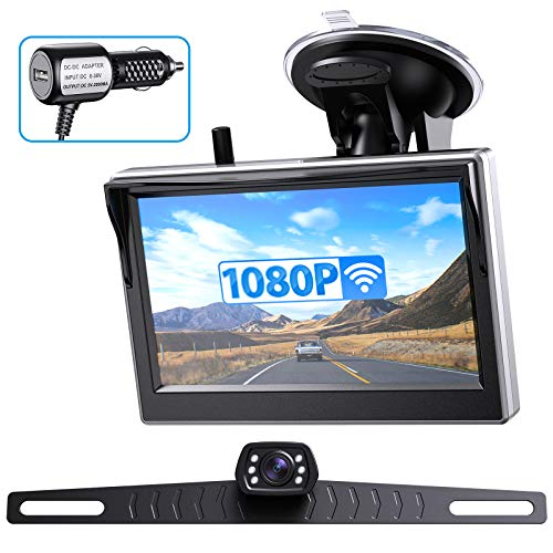 ZEROXCLUB HD 1080P Wireless Backup Camera Kit with 5'' Monitor, Digital License Plate Front/Rear View Reversing Observation System for Car Pickup Trucks SUVs Vans Clear Night Vision 152° Wide View-B5
