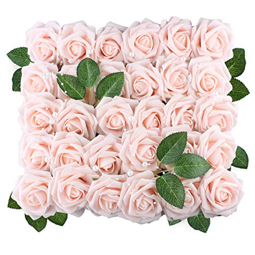Anseal Artificial Flowers Roses 60pcs Fake Roses Real Looking Artificial Foam Roses Decoration DIY for Wedding Bouquets Centerpieces Arrangements Baby Shower Party Home Decorations (60pcs, Ivory)