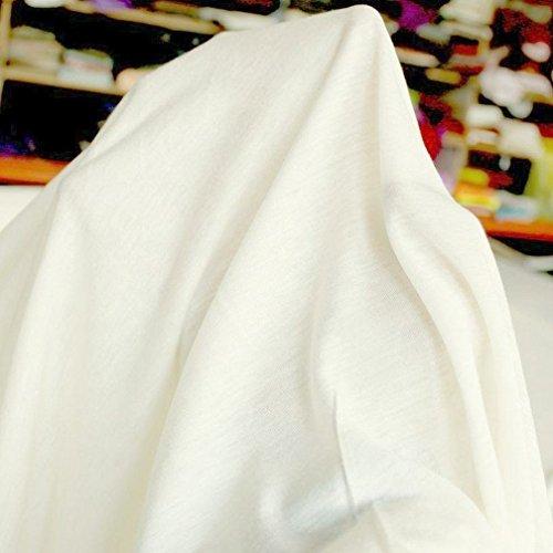 TOLKO 50cm T-Shirt-Jersey | Meterware 2m breit | weiche elastische Baumwolle für Bekleidung Vorhänge und Deko - Elfenbein