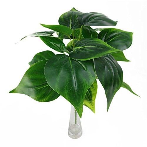 YSoutstripdu 1 x künstliche grüne Pflanze mit 5 Zweigen, Scindapsus Aureus Zimmerdekoration